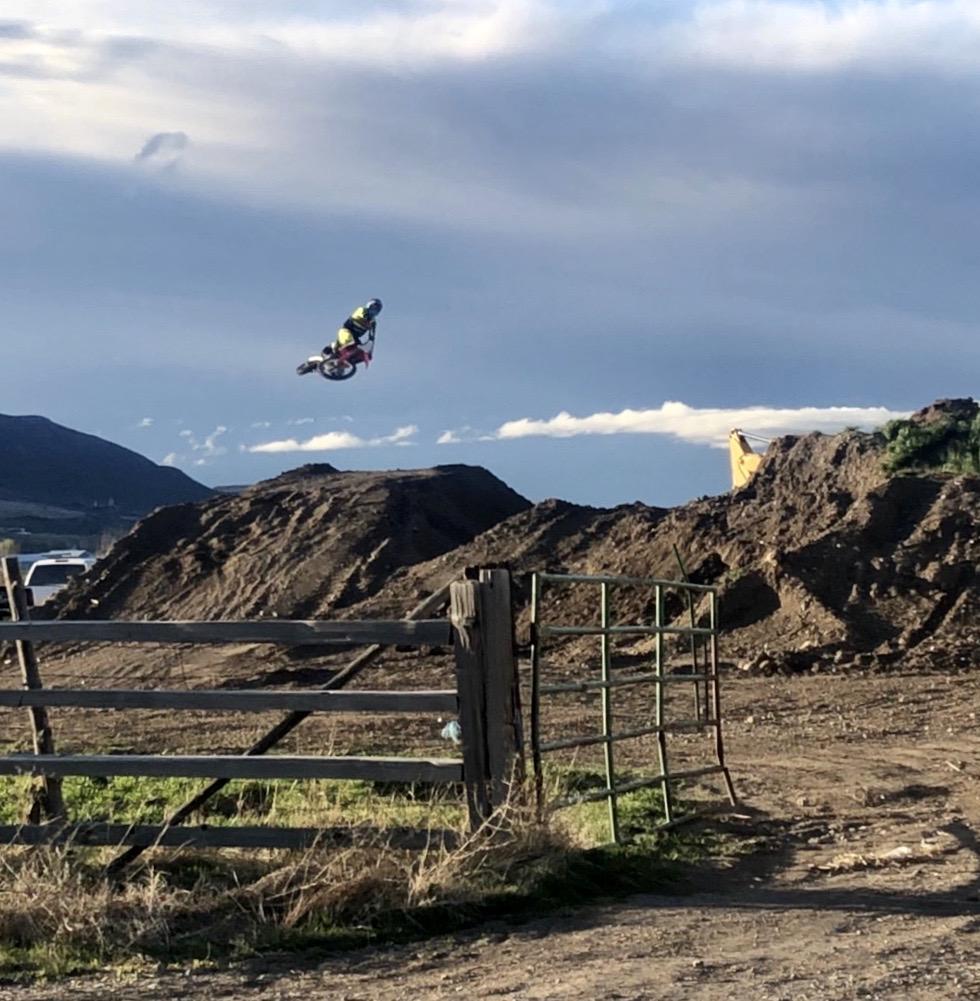 dirt bike jump on homemade track