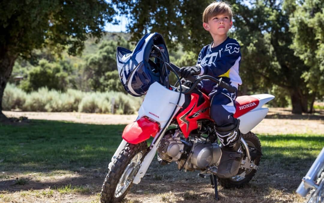 Kid riding the 2021 50cc Honda CRF50F dirt bike